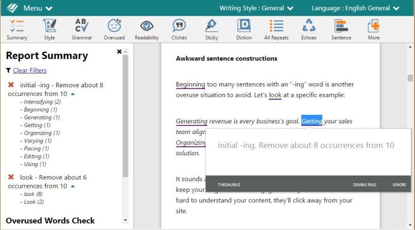 ProWritingAid Review - Writing Report