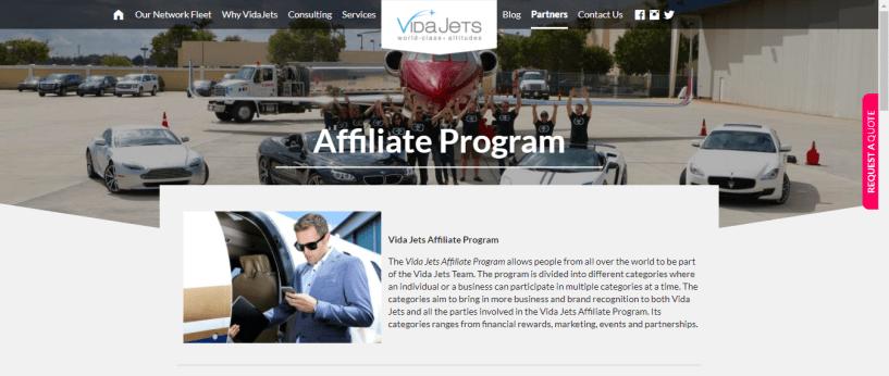 vidajets com partners -affiliate program
