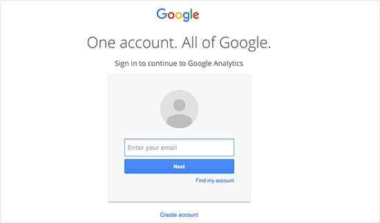 Google Analytics- Sign up
