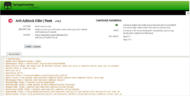 Script for Tampermonkey- Block Adblocks Detection