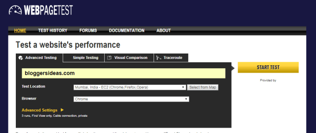 WebPage Test- Website Speed Test & Performance Tools