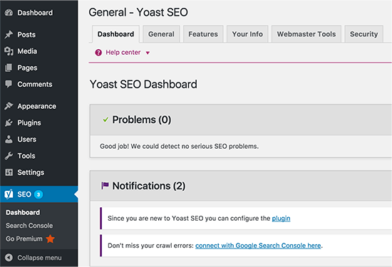 Yoast SEO Plugin- Dashboard