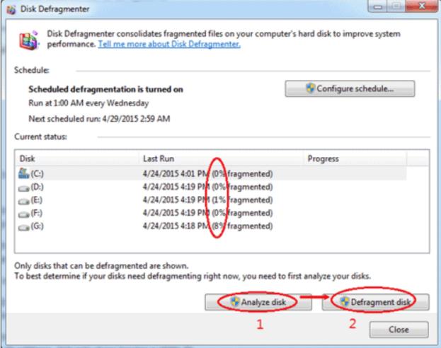 Defragment hard disk- make a laptop run faster
