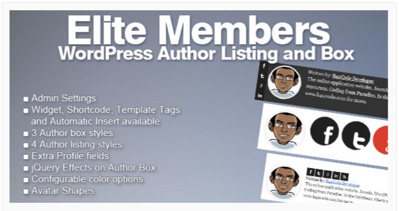 Elite Members - WordPress Author Bio Plugins