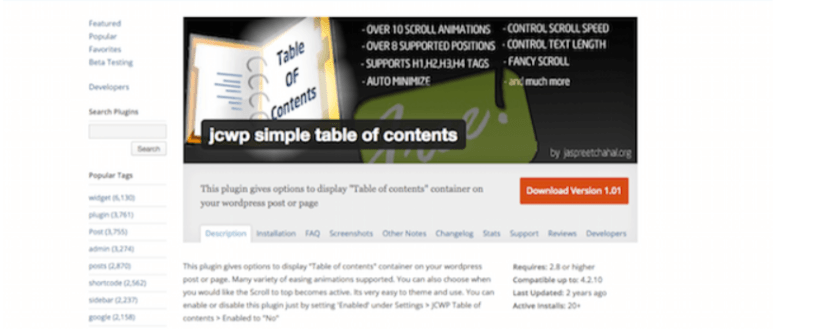 JCWP- Table of Content WordPress Plugins