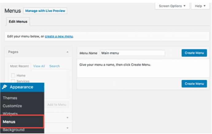 Navigation Menu- Create a Website With WordPress