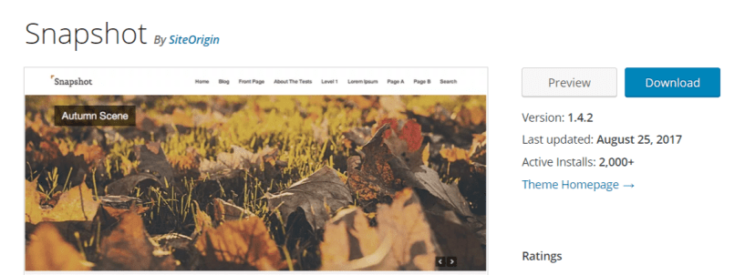 Snapshot — WordPress Photography Themes