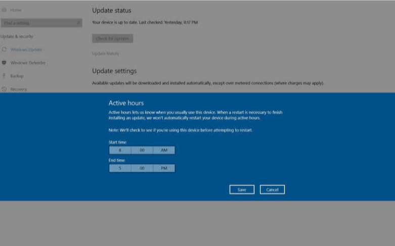 Set Active hours- Tips to speed up Windows 10