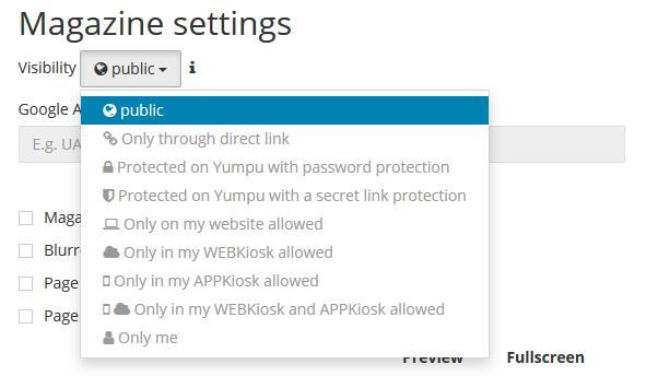 PDF flipbook Settings