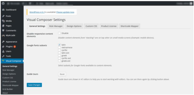 Visula COmposer Settings-Visual Composer Drag & Drop Page Builder Guide