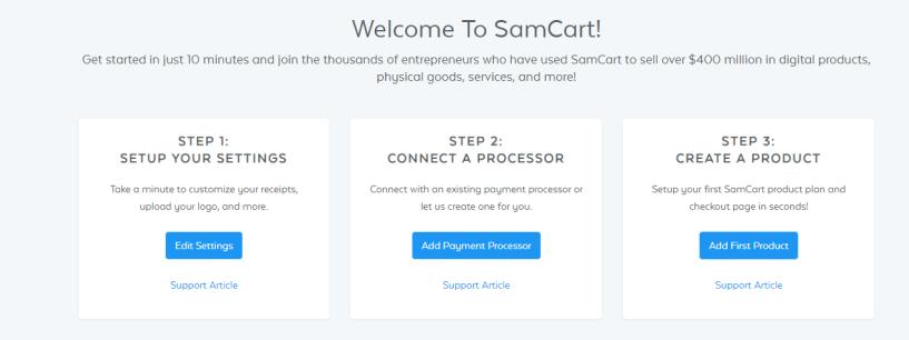 Samcart dashboard