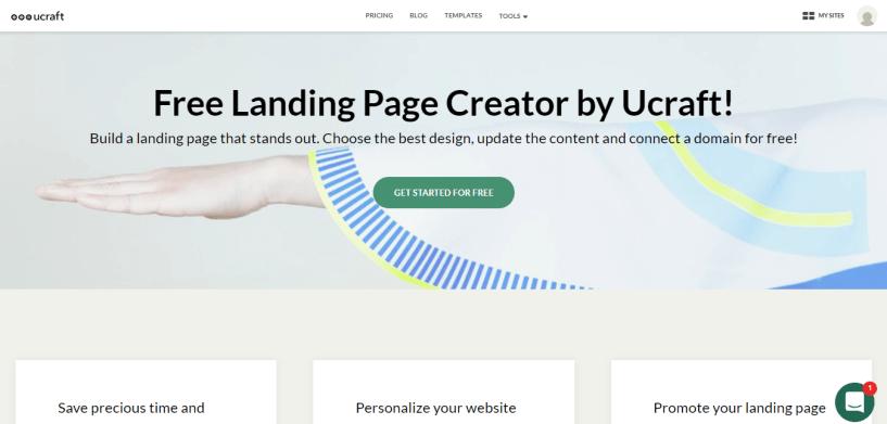 Ucraft landing page creator