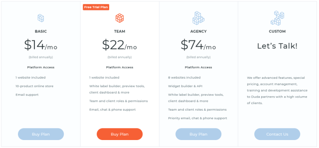 Duda Website Builder Coupon Codes- Pricing Plans