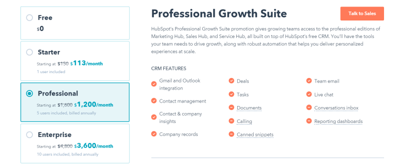 HubSpot Review- Growth Suite Pricing