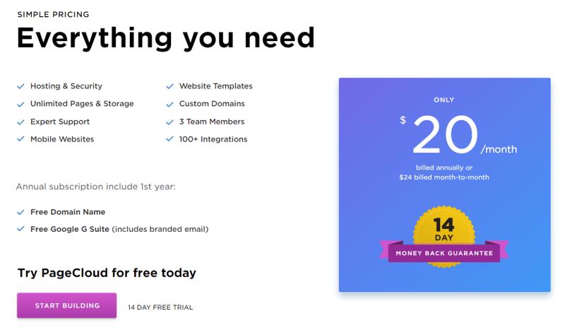 PageCloud Review- Pricing Plans
