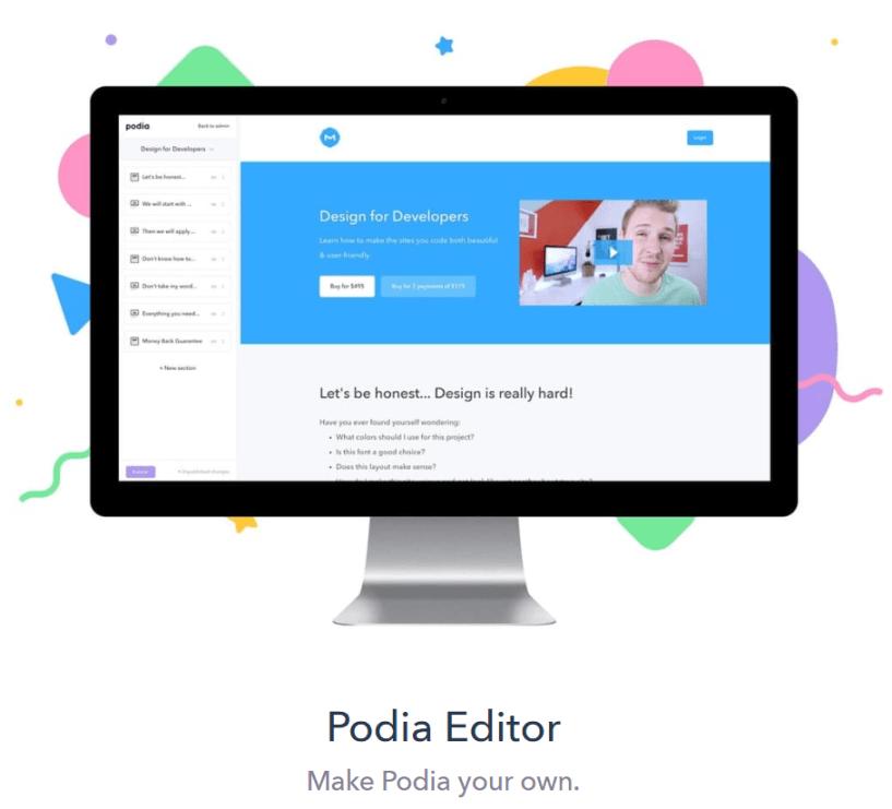 Podia Review- Podia Editor