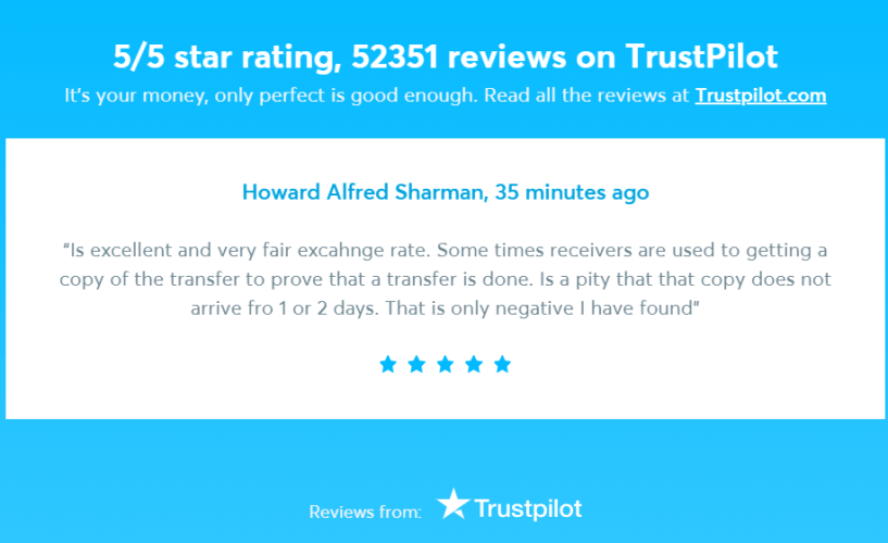 TransferWise Review- TrustPilot Review