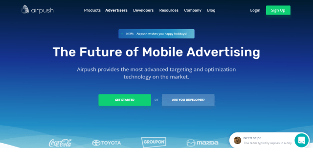 Airpush ad network for push notifications
