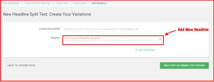 Thrive Headline Optimizer Review- Add New Headline