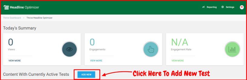 Thrive Headline Optimizer Review- Add New Test