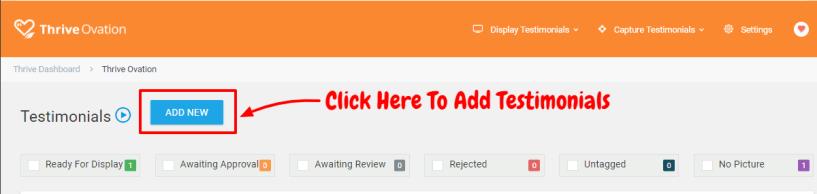 Thrive Ovation Review- Add New Testimonials