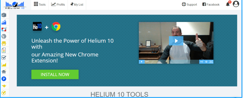 Helium 10 Review- Dashboard