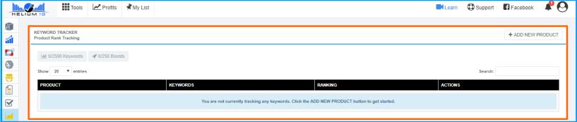 Helium 10 Review- Keyword Tracker Dashboard