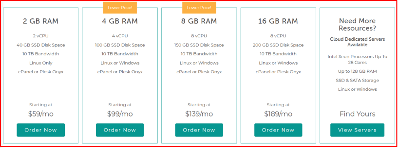 Liquid Web Pricing Plans- Cloud VPS Hosting