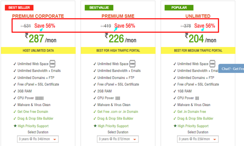 HostingRaja Review With Discount Coupon Code -priicing Plan