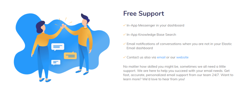 elastic email review- Free Support