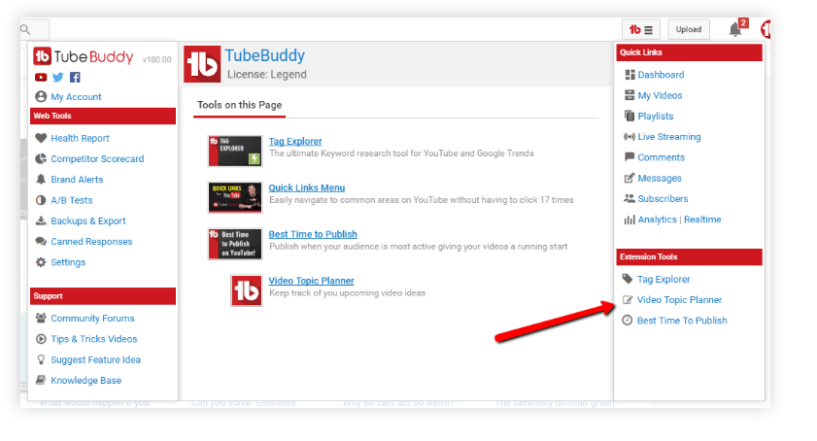 TubeBuddy Review- Video topic planner