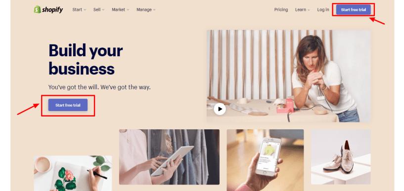 Best Ecommerce Platform -Shopify review start signin page