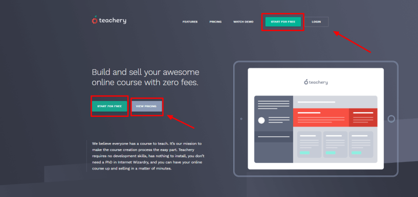 Teachery review -signup dashboard