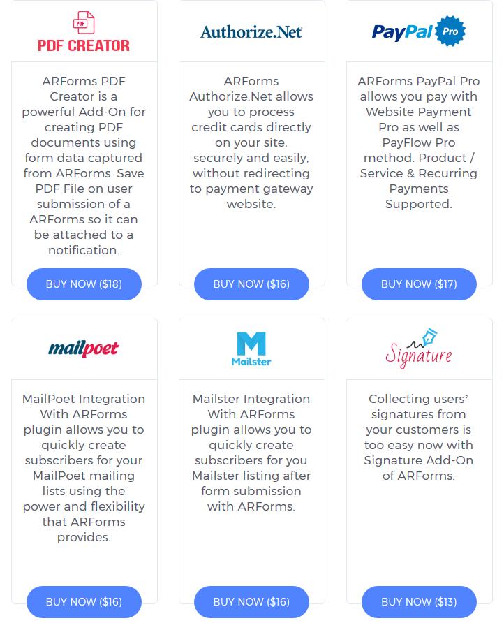 ARForms Review- Integrations