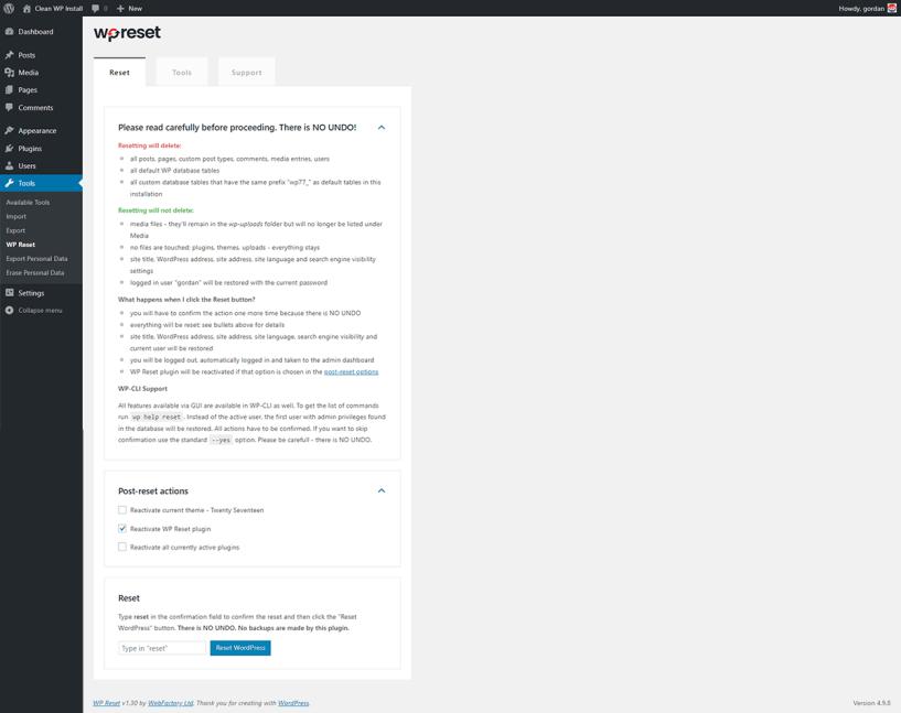 How To Reset A WordPress Blog- Confirm Reset