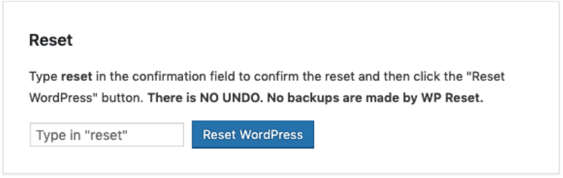 How To Reset WordPress Blog- Reset