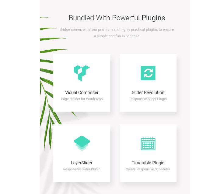 Bridge Theme Review - Powerful plugins