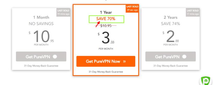 PureVPN Discount Coupon Code- PURE Vpn Pricing Plan