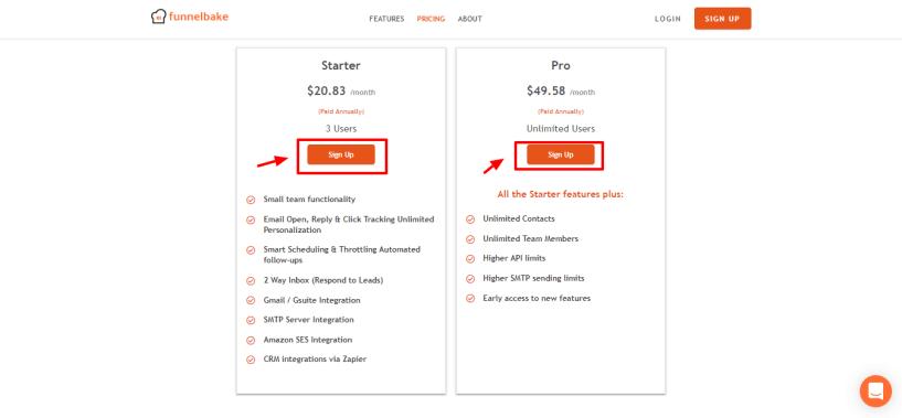 Saleshandy Alternatives - FunnelBake pricing