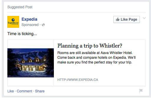 Facebook Ad - expedia ads page