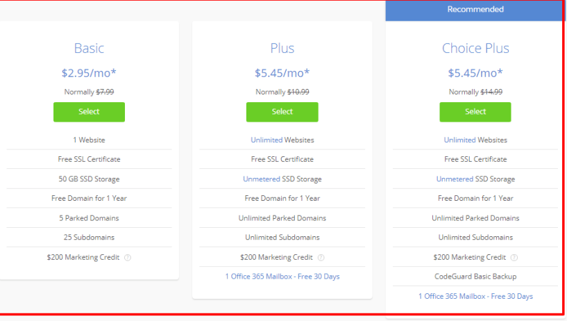 Pressable vs BlueHost vs SiteGround Comparison Review - BlueHost Pricing Plan