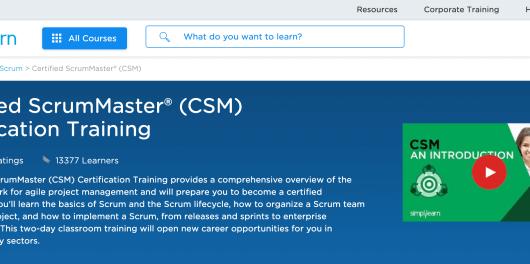 Certified ScrumMaster® CSM® - Simplilearn