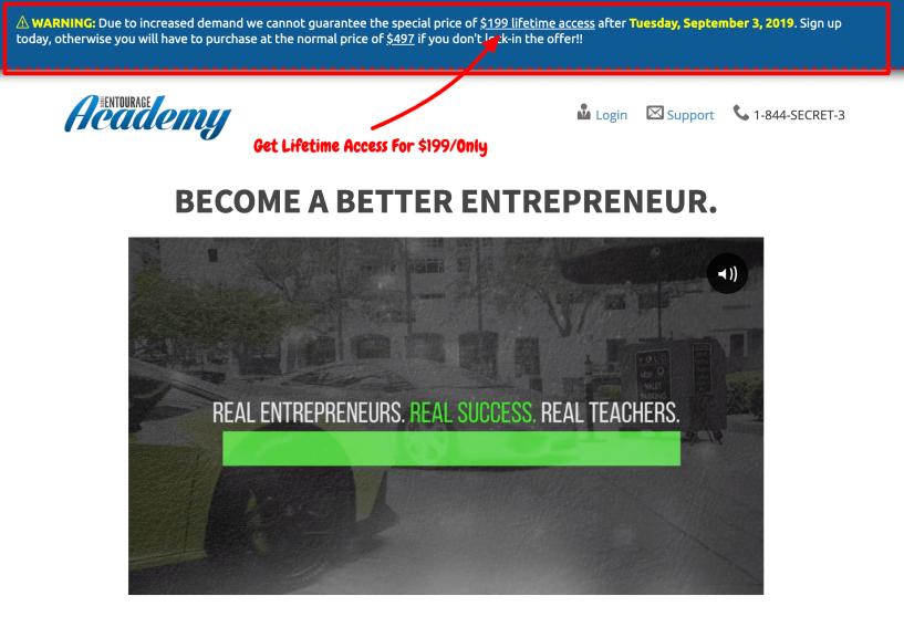 Secret Entourage Academy Offer