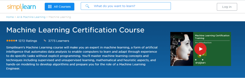Simplilearn review - Machine Learning Certification Training