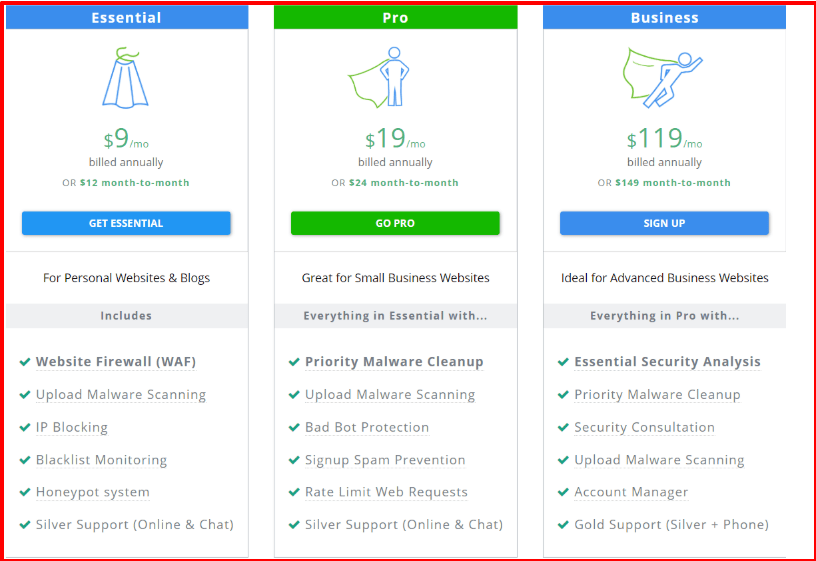 Astra vs Sucuri Comparision Review- Astra Pricing Plan