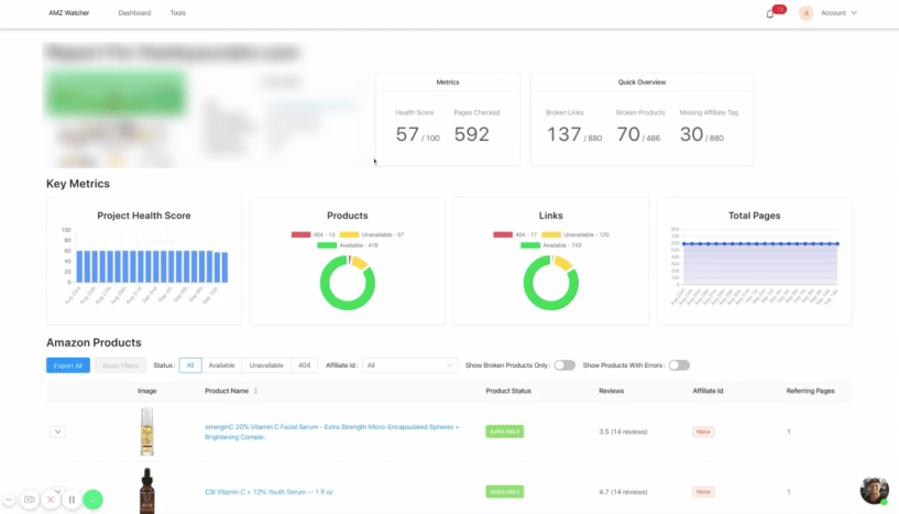 Dashboard and Metrics- AMZ Watcher