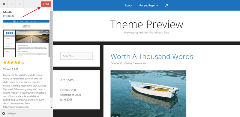 install wordpress theme - mantle theme