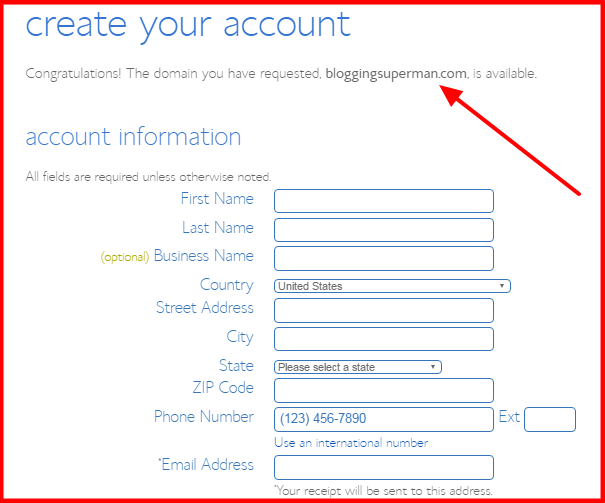 Free Domain Name Bluehost Account Info
