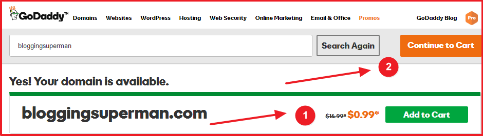 buy domain name from godaddy - add to cart option