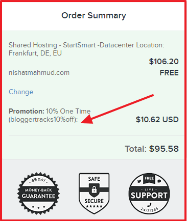 FastComet Coupon Code - Order Summary